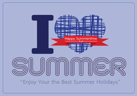 I love Summer concept  idea design card Vector