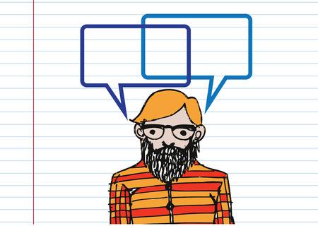 personas pensando: La gente que piensa y los pueblos que hablan con las burbujas del discurso de di�logo Vectores
