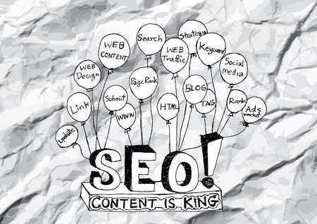 xhtml: Seo Idea SEO Search Engine Optimization on crumpled paper Illustration