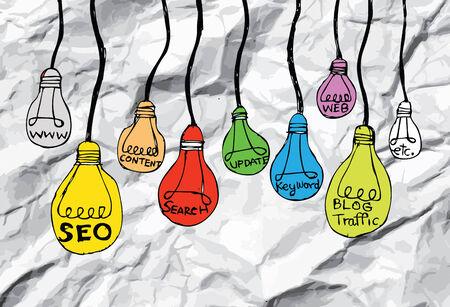 Seo Idea SEO Search Engine Optimization on crumpled paper Vector