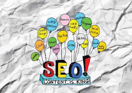 meta: Seo Idea SEO Search Engine Optimization on crumpled paper Illustration