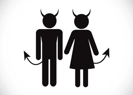 teufel engel: Piktogramm Teufel Icon Symbol-Zeichen Illustration