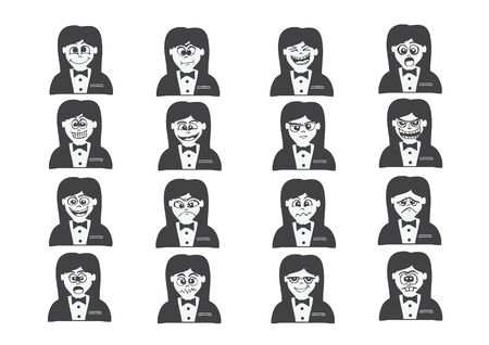 Cartoon faces Set drawing illustration Vector