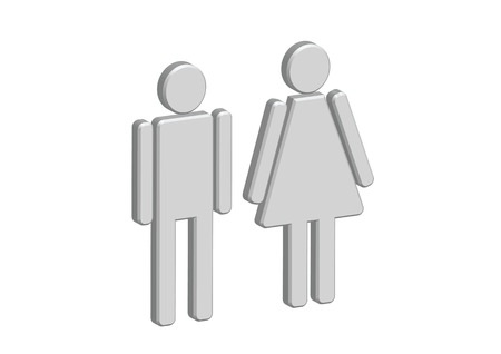3D Pictogram Man Woman Sign icons, toilet sign or restroom icon Stock Vector - 30130524