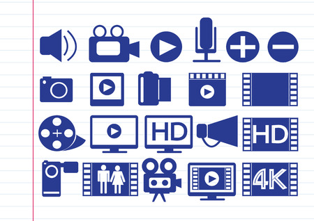 multimedia icons: Video Movie Multimedia Icons