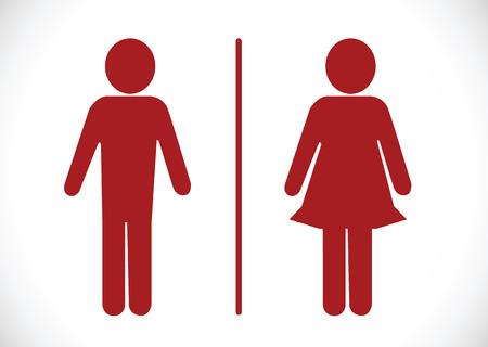 simbolo uomo donna: Icona Bagno e Pittogramma Uomo Donna Segno Vettoriali