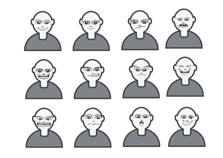 smirk: Cartoon faces Set ilustraci�n de dibujo