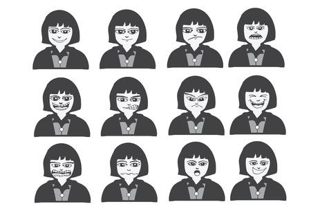 Caras de la historieta Conjunto ilustración dibujo