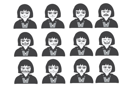 Cartoon faces Set drawing illustration Illustration