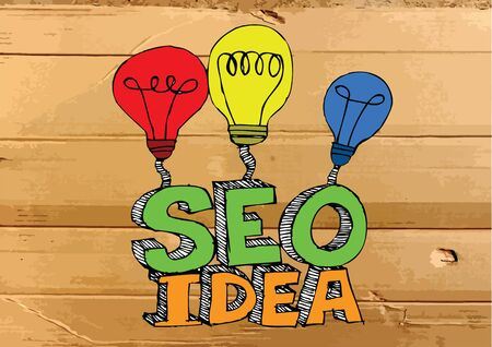 meta search: Idea Seo SEO Search Engine Optimization su Cardboard Texture illustrazione