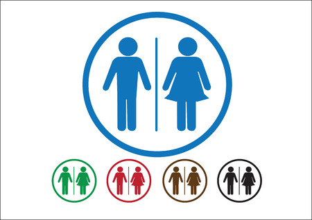 Pictogram Man Woman Sign icons, toilet sign or restroom icon Stock Vector - 30131215