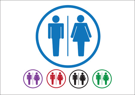Pictogram Man Woman Sign icons, toilet sign or restroom icon Stock Vector - 30131227