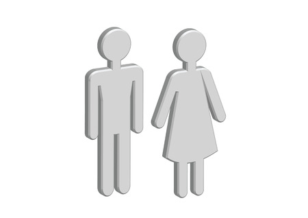 3D Pictogram Man Woman Sign icons, toilet sign or restroom icon Stock Vector - 30131248