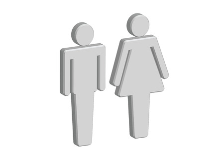 3D Pictogram Man Woman Sign icons, toilet sign or restroom icon Stock Vector - 30131347