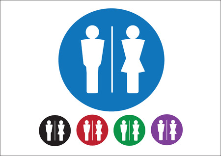 urban planning: Pictogram Man Woman Sign icons, toilet sign or restroom icon