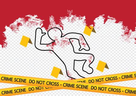 flowed: Crime scene danger tapes illustration Illustration