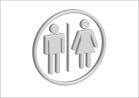 3D Pictogram Man Woman Sign icons, toilet sign or restroom icon Stock Vector - 30131356