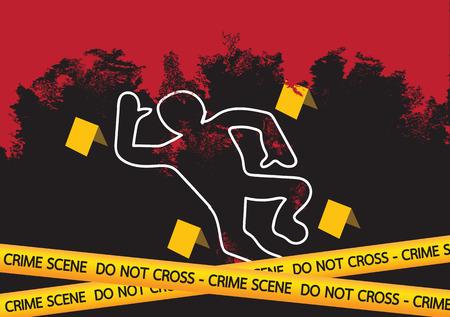 flowed: Crime scene danger tapes  illustration