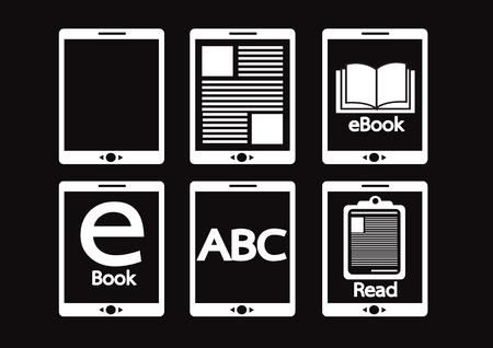 ereader: E-book reader  and e-reader icons set