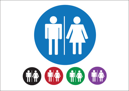 Pictogram Man Woman Sign icons, toilet sign or restroom icon Stock Vector - 30131893