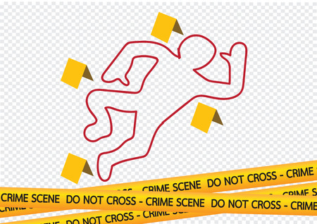 Crime scene danger tapes illustration Vettoriali