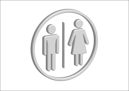 3D Pictogram Man Woman Sign icons, toilet sign or restroom icon Stock Vector - 30131933