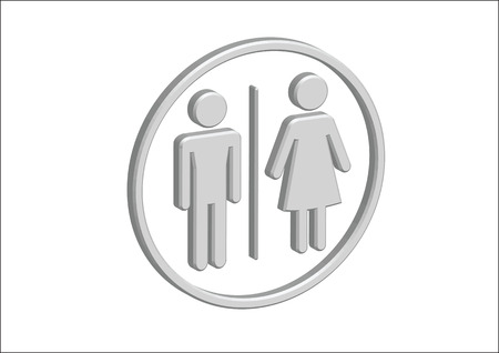 3D Pictogram Man Woman Sign icons, toilet sign or restroom icon Stock Vector - 30131934