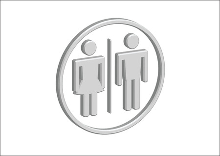 3D Pictogram Man Woman Sign icons, toilet sign or restroom icon Stock Vector - 30131936