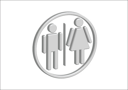 3D Pictogram Man Woman Sign icons, toilet sign or restroom icon Stock Vector - 30131938