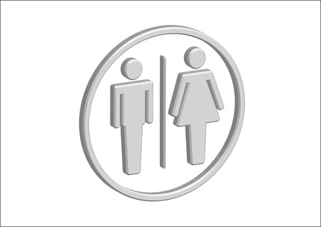 3D Pictogram Man Woman Sign icons, toilet sign or restroom icon Stock Vector - 30131939