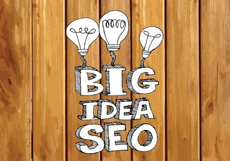xhtml: Seo Idea SEO Search Engine Optimization on wood background planks texture illustration