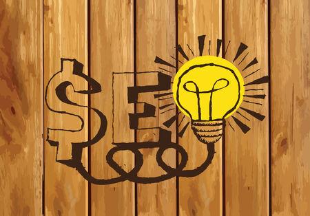 meta tags: Seo Idea SEO Search Engine Optimization on wood background planks texture illustration