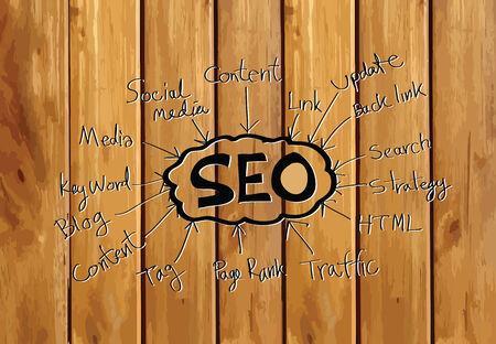 Seo Idea SEO Search Engine Optimization on wood background planks texture illustration Vector