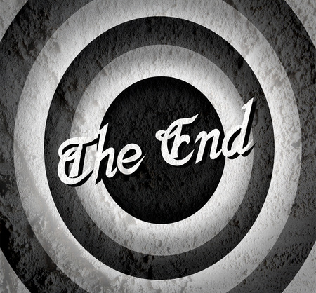 the end Movie ending screen on Cement wall texture background  Stock Photo - 30244161