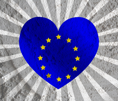 Love EU flag European union flag sign heart symbol on Cement wall texture background design photo