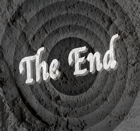 the end Movie ending screen on Cement wall texture background Stock Photo - 30249079