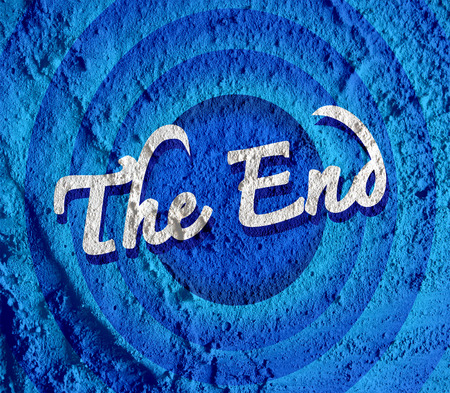 the end Movie ending screen on Cement wall texture background  Stock Photo - 30249083