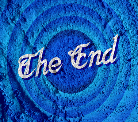 movie screen: the end Movie ending screen on Cement wall texture background