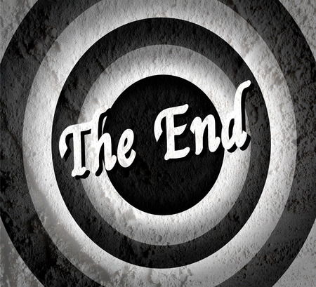the end Movie ending screen on Cement wall texture background  Stock Photo - 30249089