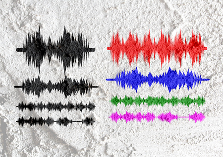 riff: Sound Equalizer  on Cement wall texture background design Stock Photo