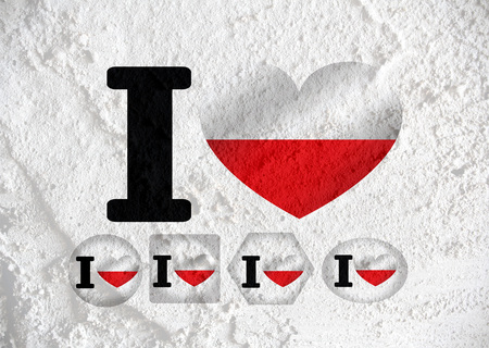 Love Poland flag sign heart symbol on Cement wall texture background design photo