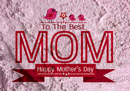 Happy mothers day Greeting card design for your mom on wall texture background design photo