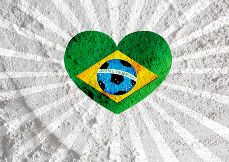 heart Flag of Brazil with Soccer ball  on wall texture background design photo