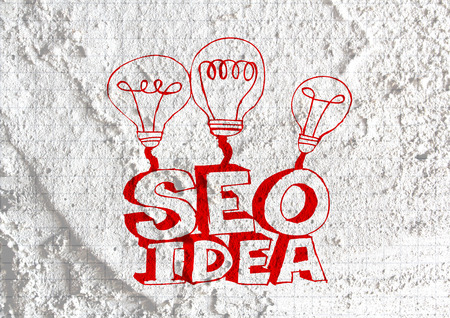 meta search: Idea Seo SEO Search Engine Optimization sul muro di cemento texture di sfondo di progettazione