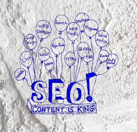 Seo Idea SEO Search Engine Optimization on Cement wall texture background design photo