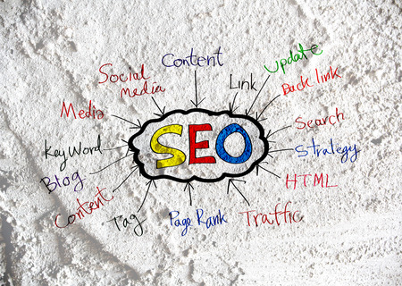 meta tags:  Seo Idea SEO Search Engine Optimization on Cement wall texture background design