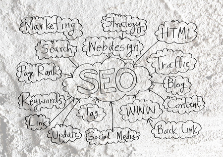 xhtml: Seo Idea SEO Search Engine Optimization on Cement wall texture background design