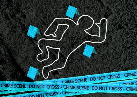 background csi: Crime scene danger tapes illustration on wall texture background design Stock Photo