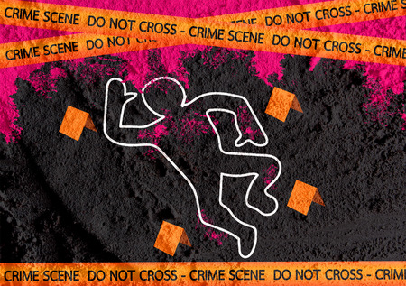 background csi: Crime scene danger tapes illustration on wall texture background design Stock Photo