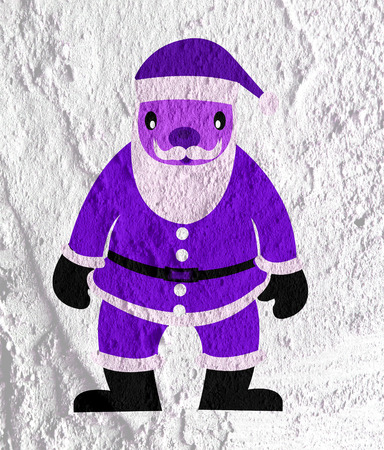oldman: Santa Claus on Cement wall Background texture Stock Photo